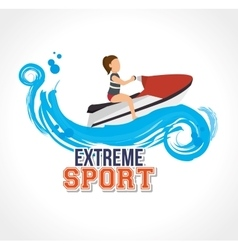 Extreme sport jet ski label design vector