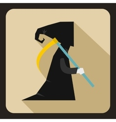 Grim reaper icon flat style vector image