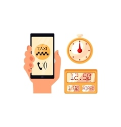 Hand holding phone with taxi calling app vector image