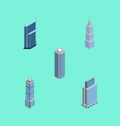 Isometric construction set of skyscraper vector