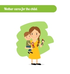 Mother cares for the child vector