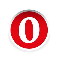 Number zero red label vector