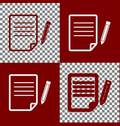 Paper and pencil sign bordo and white vector