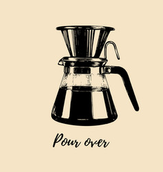 pour over coffeemaker hand vector image