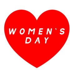 Red heart for womens day with white fill caption vector