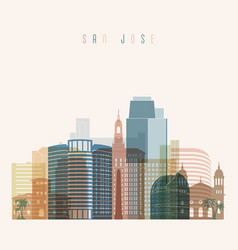 San jose state california skyline detailed silhoue vector