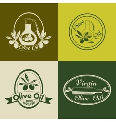 Set of olive oil labels badges and logos for vector image