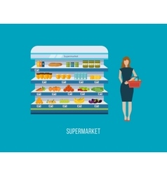 Shop supermarket interior shelf with fruits vector image