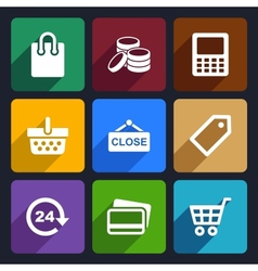 Shopping Flat Icons Set 36 vector image vector image