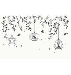 silhouette leaves background with birdcage vector image vector image