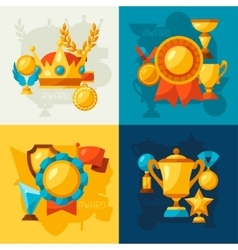 Sport or business backgrounds with award icons vector