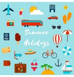 Summer holiday flat icons vector image vector image