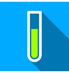 Test tube flat long shadow square icon vector