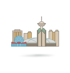 Vancouver canada city silhouette icon vector