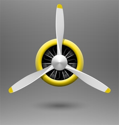 Vintage airplane propeller with radial engine vector image