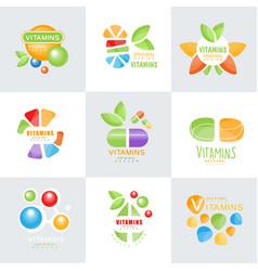 vitamins logo set original design colorful vector image vector image