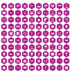 100 clock icons hexagon violet vector