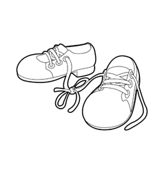 Tied shoes joke icon outline style vector