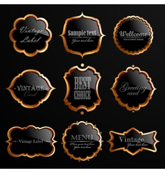 Set of black gold labels vector