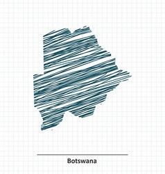 Doodle sketch of botswana map vector