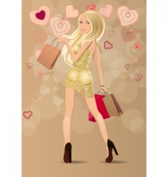Woman carrying bags vector