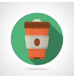 Flat color icon for coffee cup vector