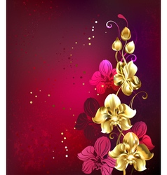 Golden orchid vector