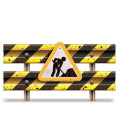 Old striped barrier with sign vector