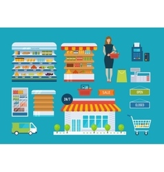 Supermarket store concept with food assortment vector