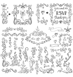 Doodles floral decor setborderselementsframe vector