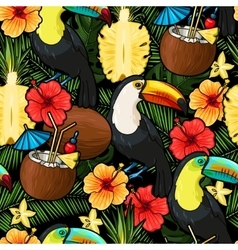 Toucan and tropical cocktail seamless vector image