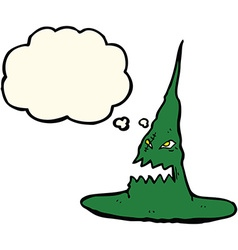 Cartoon spooky witches hat with thought bubble vector