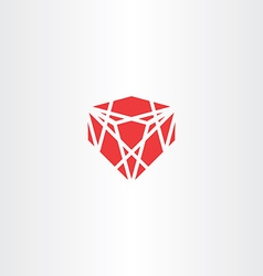 Red crystal stone gem icon vector