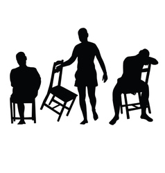 Man with chair silhouette vector