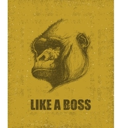 Monkey face with like a boss inscription vector