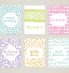 A set of 6 hand-painted minimal cards vector