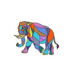 Angry elephant walking mosaic vector