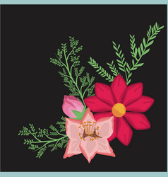 black background with decorative bouquet colorful vector image vector image