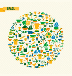 brazil lifestyle sport and culture icon set vector image