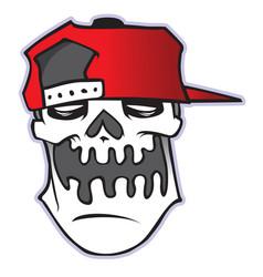 Cartoon skull in baseball cap vector
