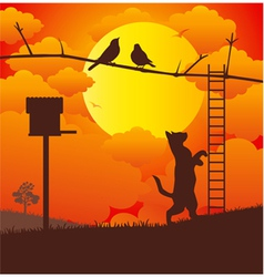 Cat and bird vector image