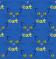 cat face on blue seamless background vector image