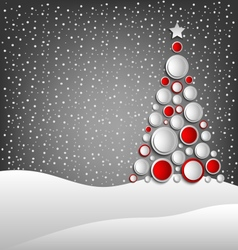 Christmas card with abstract tree and snowy vector