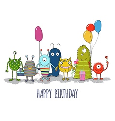 Cute colorful monsters happy birthday card eps10 vector image vector image
