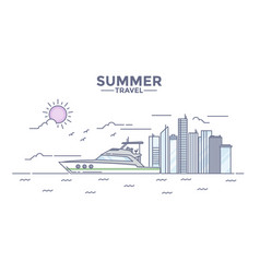 Flat line design hero image- summer vector