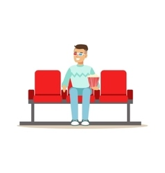 Guy watching a movie alone in cinema in 3d glasses vector