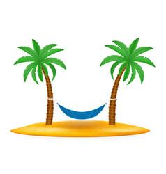 Hammock suspended between palm trees stock vector