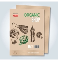 Hand drawn template for sale in vegetarian shop vector image vector image