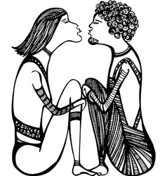 Hippie kiss vector