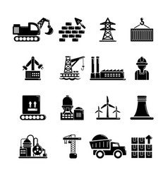 Industry icons set simple style vector